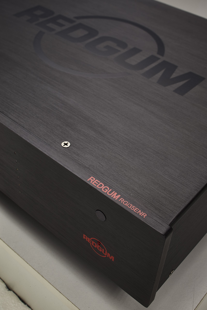 Detail of a REDGUM Black-series integrated amp