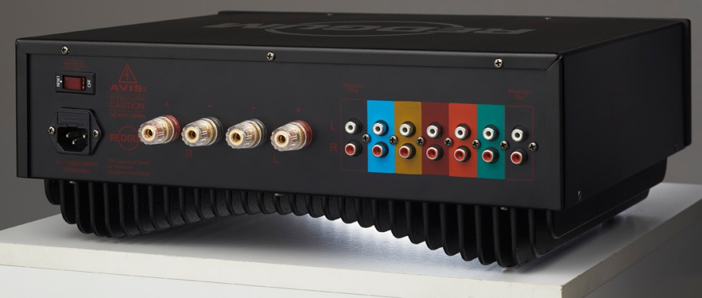 Back panel of a Black-series integrated amplifier.